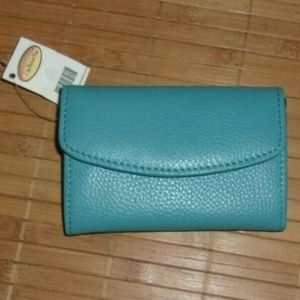 Talbots Turquoise Pebbled Leather 7 Pocket Wallet